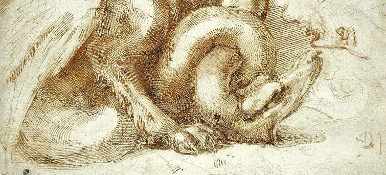 Browse Michelangelo's Works from A to Y (Shown: Dragon, detail)